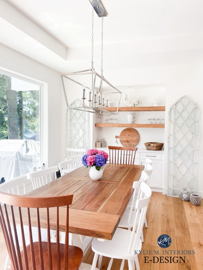Best white paint color, Benjamin Moore Super White. Modern farmhouse dining room, white oak, floating shelves, chandelier. Kylie M INteriors Edesign, online paint colour consulting
