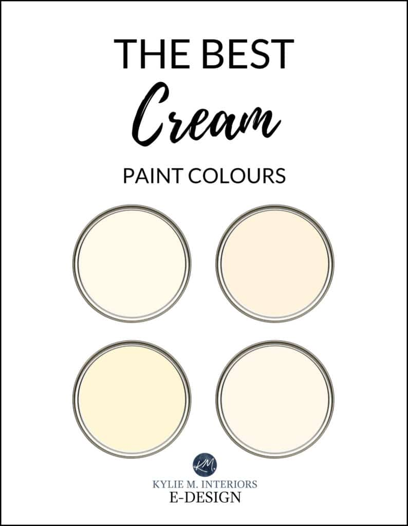Most popular cream yellow paint colours, Benjamin Moore and Sherwin Williams. Kylie M Interiors Edesign, color advice design blogger