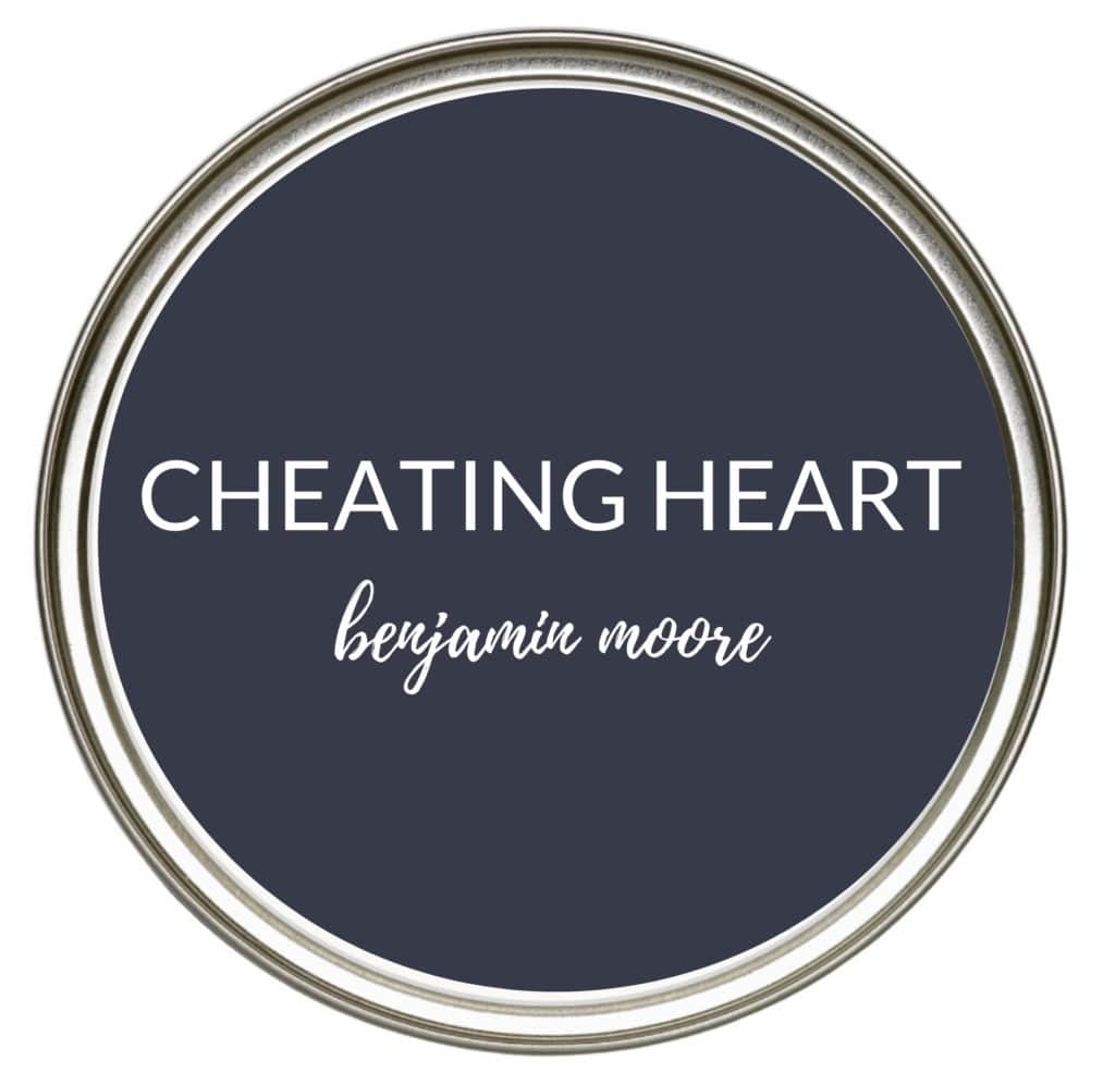 Paint colour ideas, navy blue for kitchen cabinets, island, bathroom vanity. Benjamin Moore Cheating Heart. Kylie M Edesign