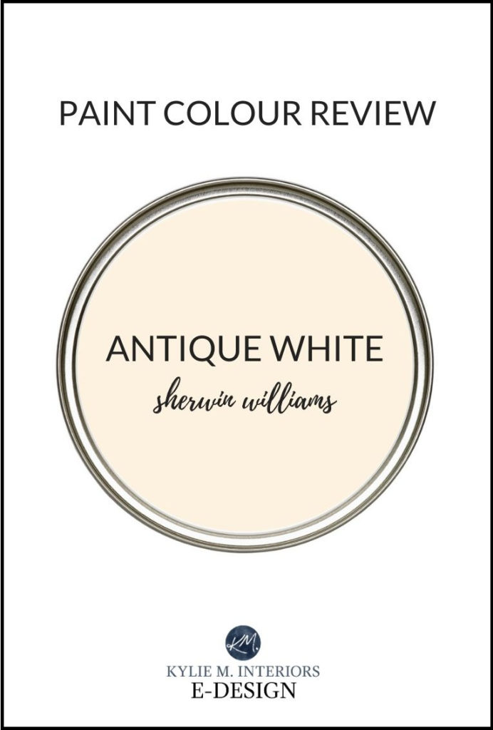 Paint colour ideas to go with, tone down or coordinate with Sherwin Williams Antique White on painted cabinets or trim. Review by Kylie M Interiors Edesign