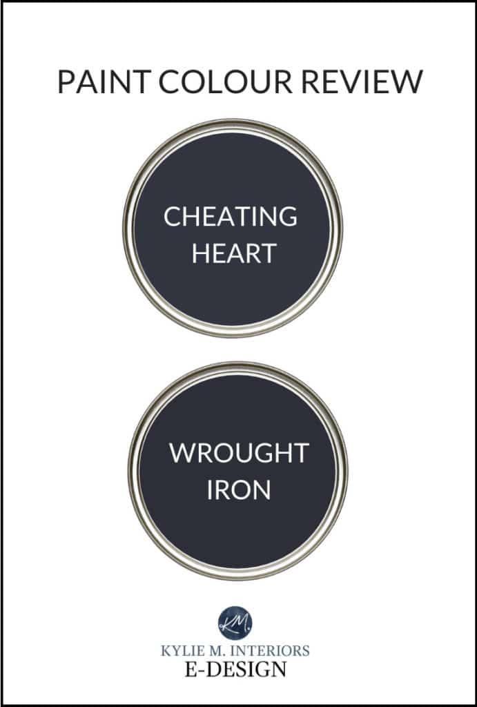 Paint colour review, Benjamin Moore Wrought Iron and Cheating Heart, best navy blue paint colors, by Kylie M Interiors Edesign, diy blogger