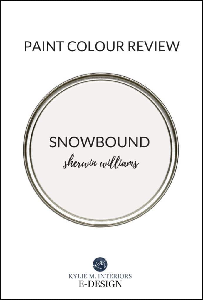 Paint review, Sherwin Williams Snowbound, popular white paint colour. Written by Kylie M Interiors Edesign, diy blogger