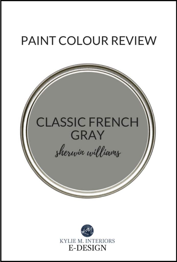 Popular dark charcoal gray paint color, Sherwin Williams Classic French Gray. The best paint color review with Kylie M Interiors Edesign, online diy decorating advice blogger