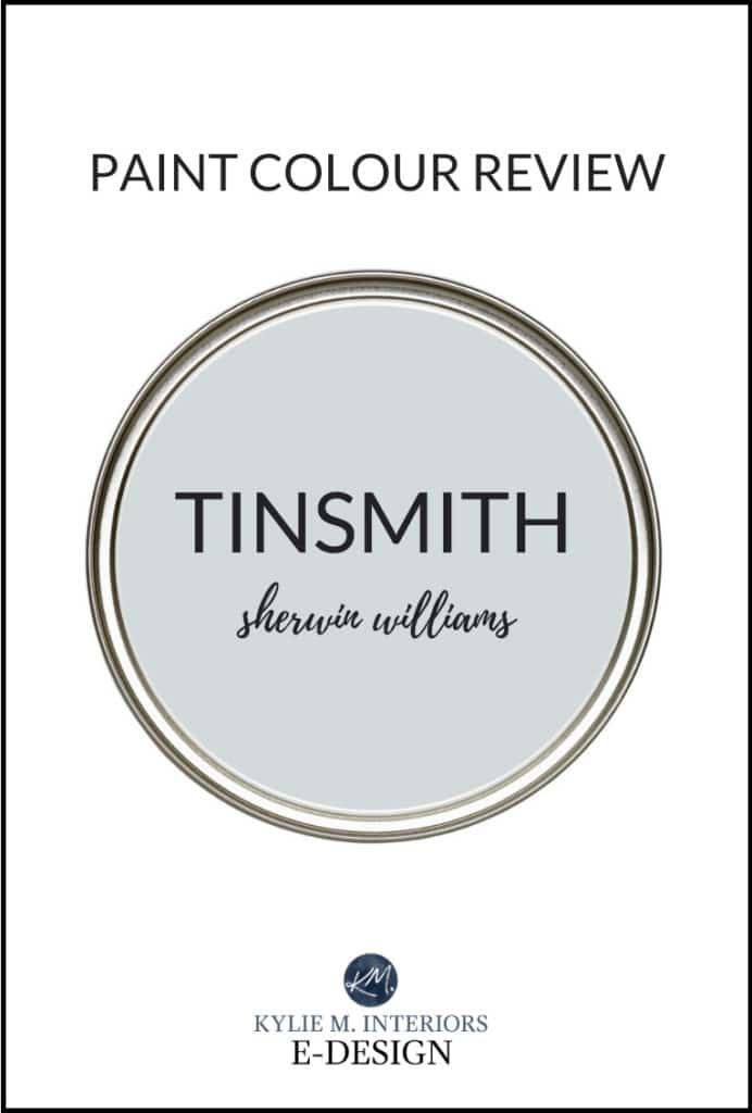 Review, most popular cool gray paint colour, Sherwin Williams Tinsmith. Kylie M Interiors Edesign, online paint color expert, diy decorating advice blogger