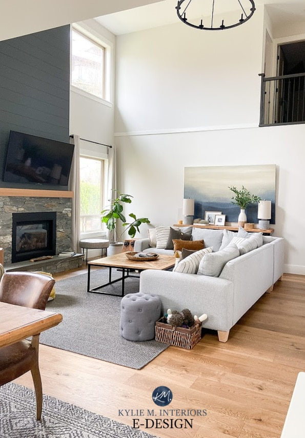 Review of Sherwin Williams Roycroft Pewter, dark gray paint colour. Fireplace with shiplap stone, round chandelier in living room. Kylie M Interiors Edesign (3)