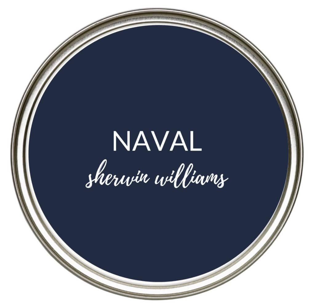 Sherwin Williams Naval, a bright dark navy blue for kitchen cabinets, island, vanity and more. Kylie M Interiors Edesign