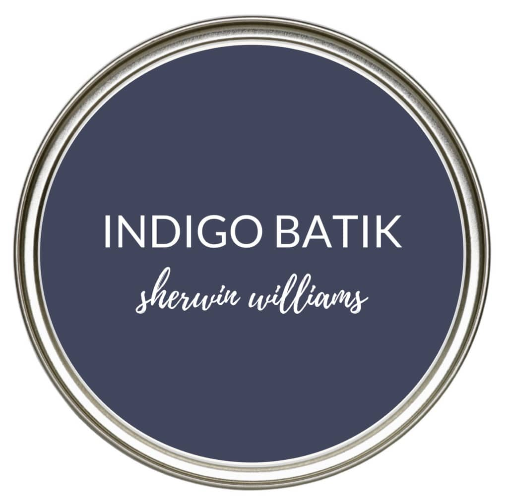 Soft navy blue paint color for kitchen cabinets, island, lowers, bathroom vanity. Sherwin Williams Indigo Batik, Kylie M Interiors Edesign