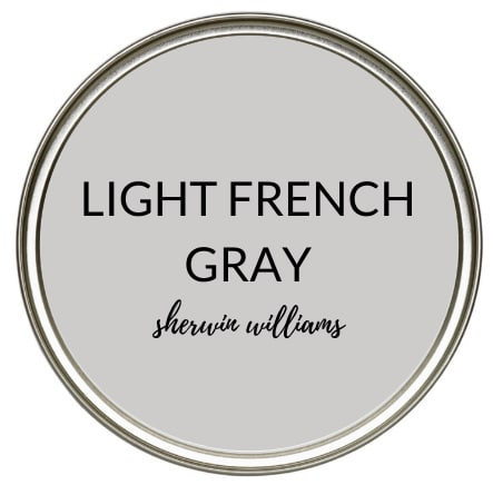 True gray paint colour, minimal undertones, Sherwin Williams Light French Gray. Kylie M Interiors Edesign, popular online paint color consulting and diy advice
