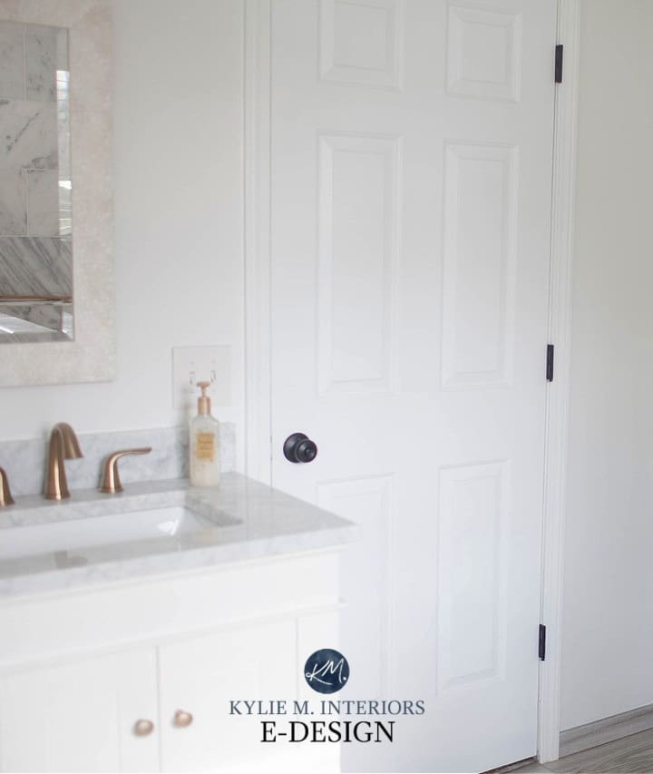 White vanity, white trim, marble countertop, Benjamin Moore Decorators White on walls in bathroom. Kylie M Interiors Edesign