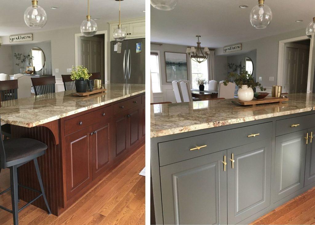 Wood kitchen island, painted Sherwin Williams Urbane Bronze, orange hue granite countertop, wood floor. Kylie M Interiors Edesign diy