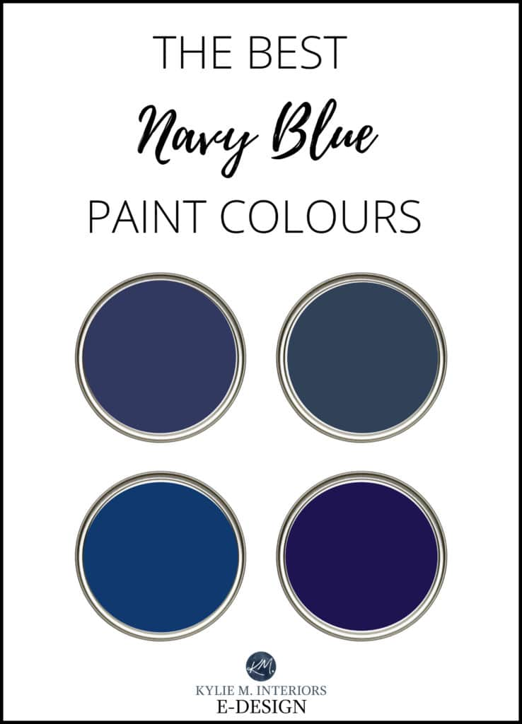 The best, most popular navy blue paint colours - cabinets, island, front door, feature wall. Benjamin and Sherwin. Kylie M Interiors Edesign