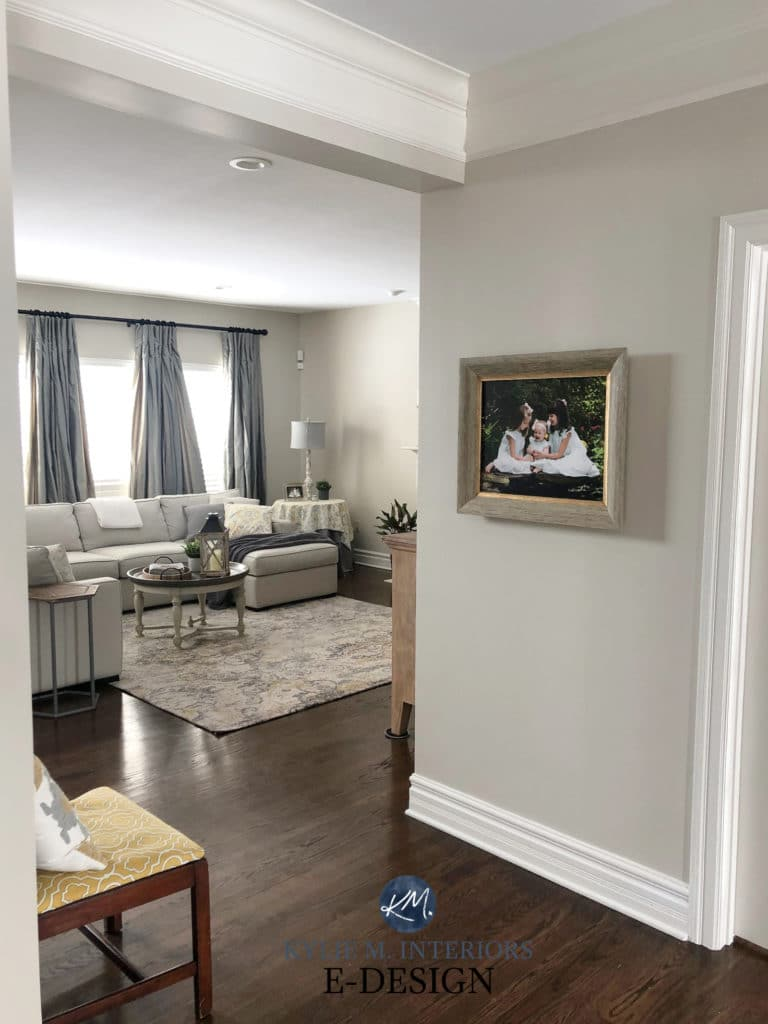 Benjamin Moore Edgecomb Gray, creamy trim, dark wood flooring. Kylie M Interiors, best neutral greige or taupe color. E-design, decorating and design blogger advice