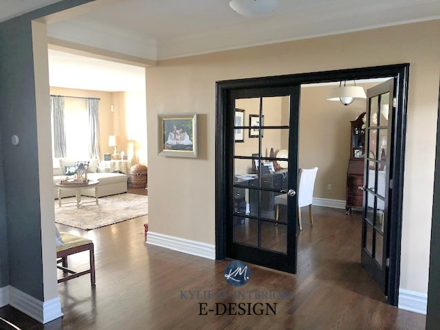 Benjamin Moore Stone House, top beige paint colour. Wood floor, black painted french doors. Kylie M Edesign, DIY decor and color advice blogger