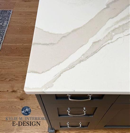 Cambria Brittanica Warm, Urbane Bronze Sherwin painted island, white oak flooring Goodfellow. Kylie M Interiors Edesign.