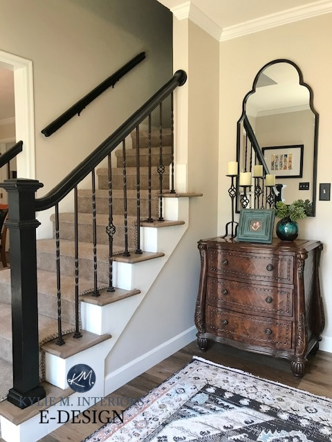 Foyer, entryway, Benjamin Moore Edgecomb Gray walls, White Dove trim, painted stair railing black. Kylie M Interiors Edesign, DIY, online paint color consultant