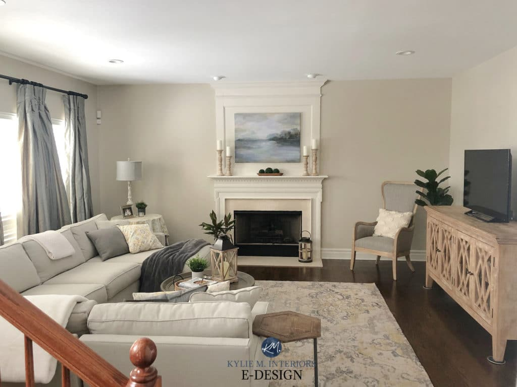 Living room, tan sectional sofa, cream trim and fireplace, dark wood flooring. Edgecomb Gray neutral by Benjamin Moore. Kylie M Interiors Edesign, diy online advice