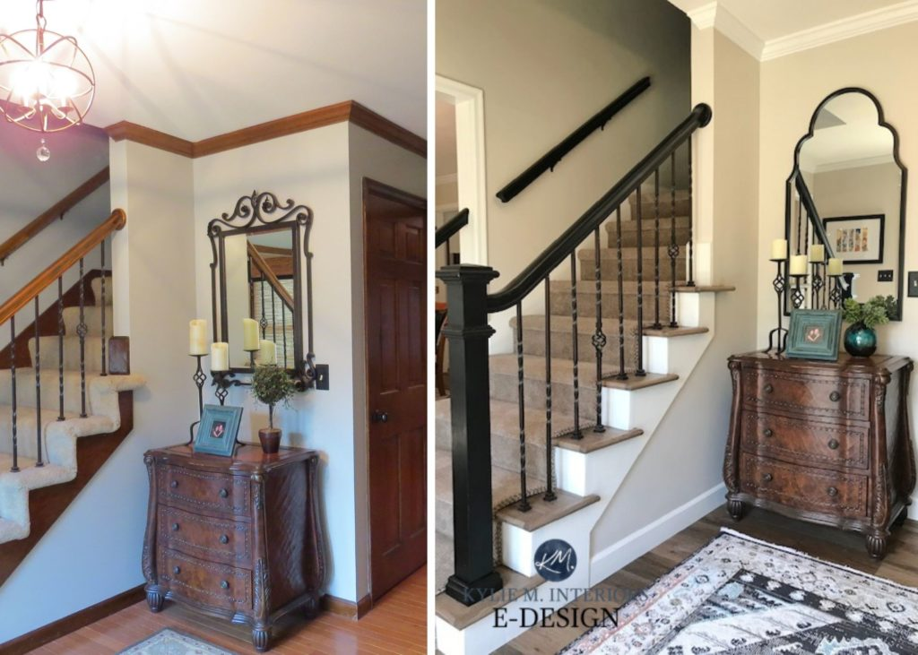Painted wood trim and stair hand rail. Benjamin Moore Edgecomb Gray, White Dove, black stair railing. Traditional transitional style. Kylie M Interiors edesign, foyer.