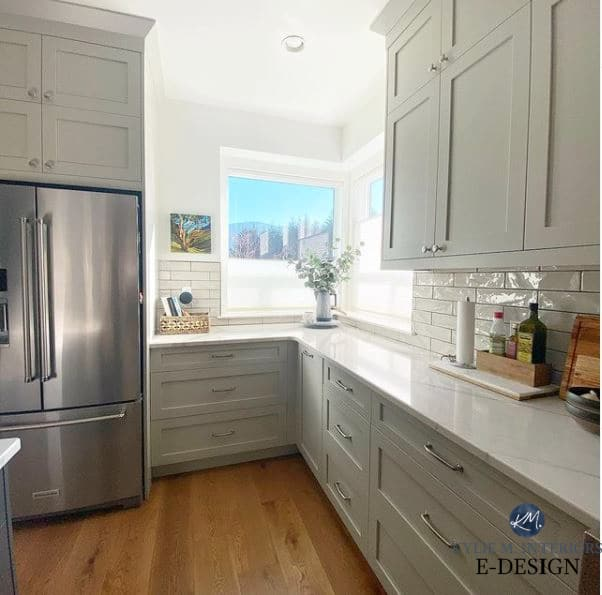 Revere Pewter painted kitchen cabinets, Cambria Brittanica Warm quartz countertops, polished nickel hardware, stainless. Kylie M Edesign, diy blogger
