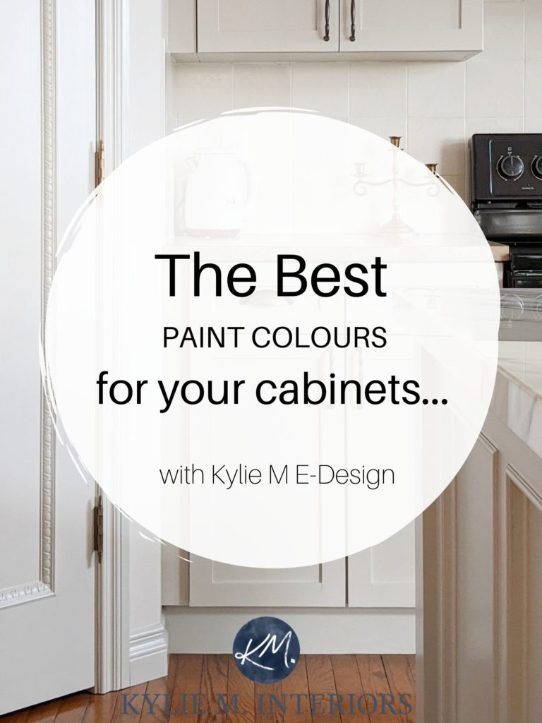 The best paint colours for kitchen cabinets. Kylie M Interiors Edesign, online paint color consultant, virtual design and edecor. Benjamin and Sherwin. Market
