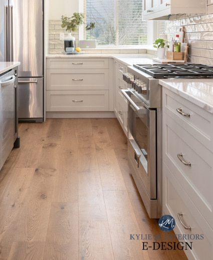 White oak engineered flooring in kitchenm, Goodfellow. Kylie M Interiors. Revere Pewter painted cabinets, Cambria quartz