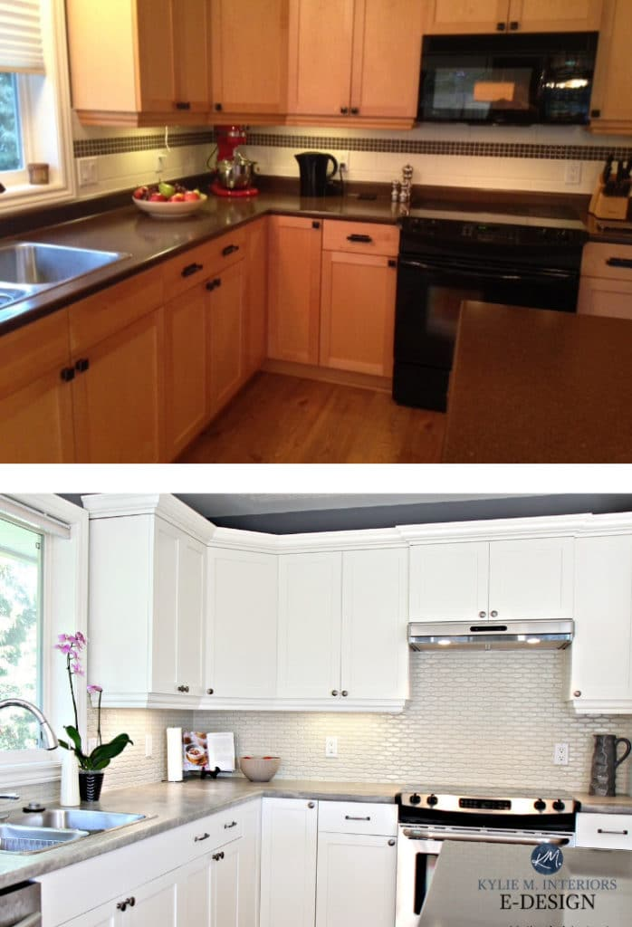 Before after, painted maple wood cabinets, warm Cloud White, laminate counterop, gray quartz, Kylie M Interiors Edesign