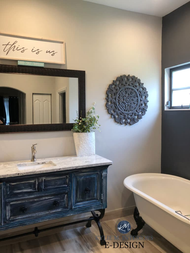 Benjamin Moore Collingwood with Sherwin Williams Peppercorn feature wall in primary bathroom, Kylie M Interiors Edesign, online diy ideas (2)