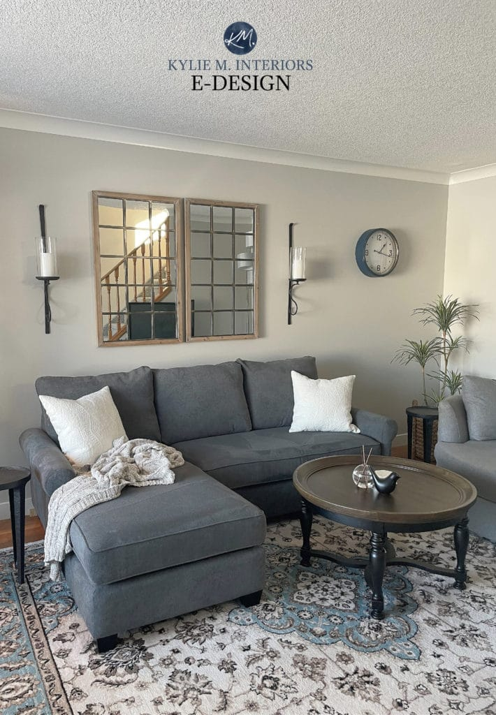 Benjamin Moore Rodeo, warm gray paint colour, living room, dark gray sectional. Kylie M Interiors Edesign, online paint color consultant