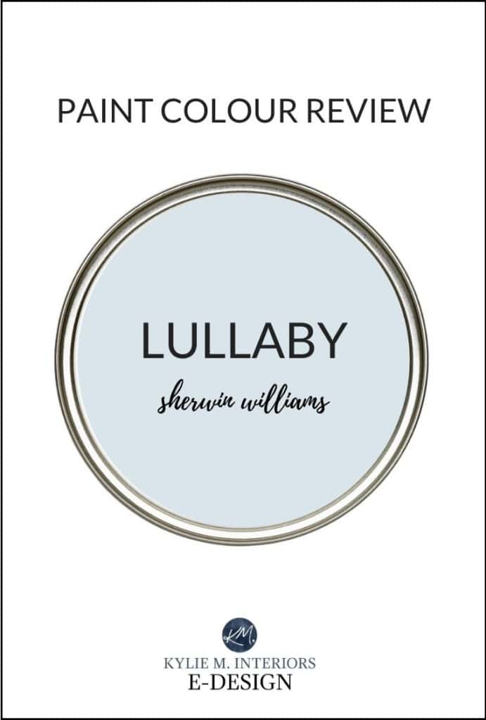 Best blue paint colour, review of Sherwin Williams Lullaby. Kylie M Interiors, diy online paint color consultant.