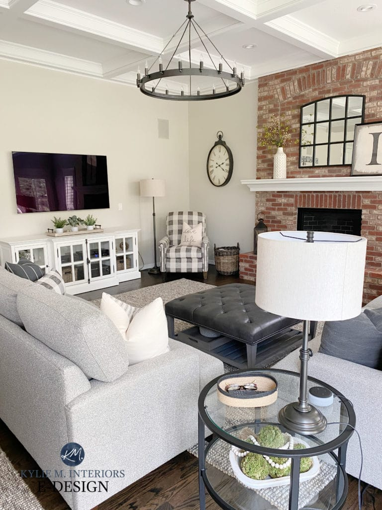 Family or living room home decor, transitional style, greige walls, brick fireplace. Kylie M Interiors Edesign, online paint color and virtual consultant