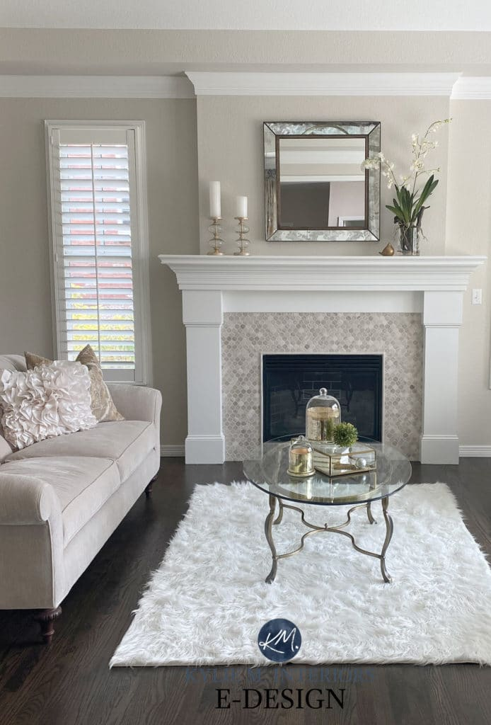 Formal living room fireplace, travertine tile surround, dark wood floor, taupe and beige furniture. Edgecomb Gray and White dove, Benjamin Moore. Kylie M Interiors Edesign