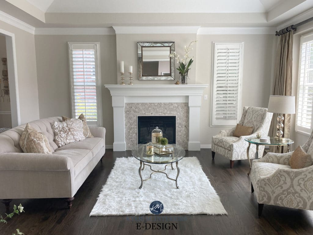 Formal livingroom, travertine tile fireplace surround, dark wood floor. White mantel, greige taupe furniture. Edgecomb Gray walls, White Dove. Kylie M Interiors Edesign, diy consultant
