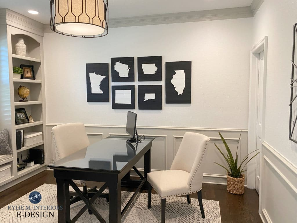 Home office, wainscoting painted Benjamin Moore Revere Pewter and Whtie Dove. Kylie M Interiors Edesign, virtual and diy design and decor consultant. Update ideas