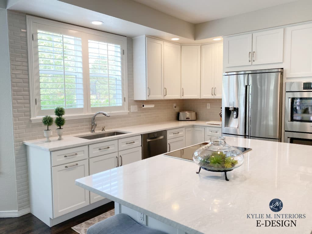 Kitchen cabinets and island painted Benjamin Moore White Dove, white quartz countertop, greige subway tile. Edgecomb Gray baby fawn walls. Kylie M Interiors Edesign, diy blogger