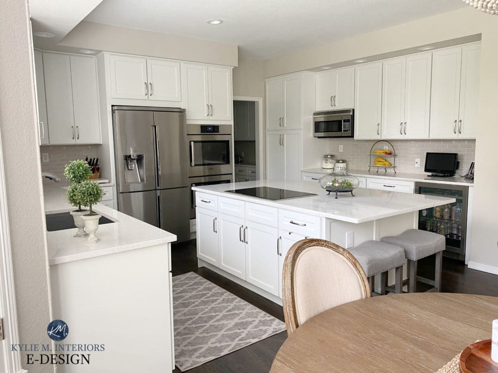Kitchen cabinets and island, white quartz countertop. Benjamin Moore White Dove (baby Fawn), Edgecomb Gray, greige subway tile backsplash. Stainless, Kylie M Interiors Edesign, blogger