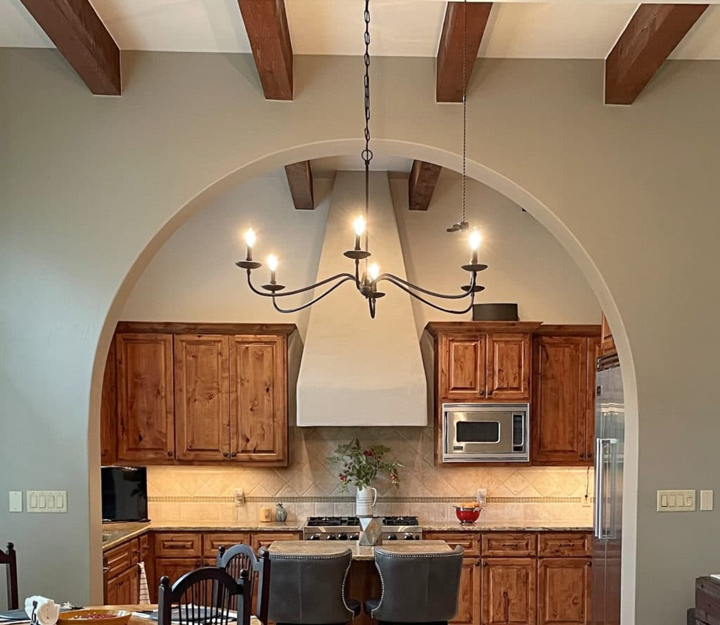 Kitchen wood cabinets, Sherwin Williams White Duck, wood beams, feature similiar to Mindful Gray. Kylie M Interiors Edesign, diy blogger