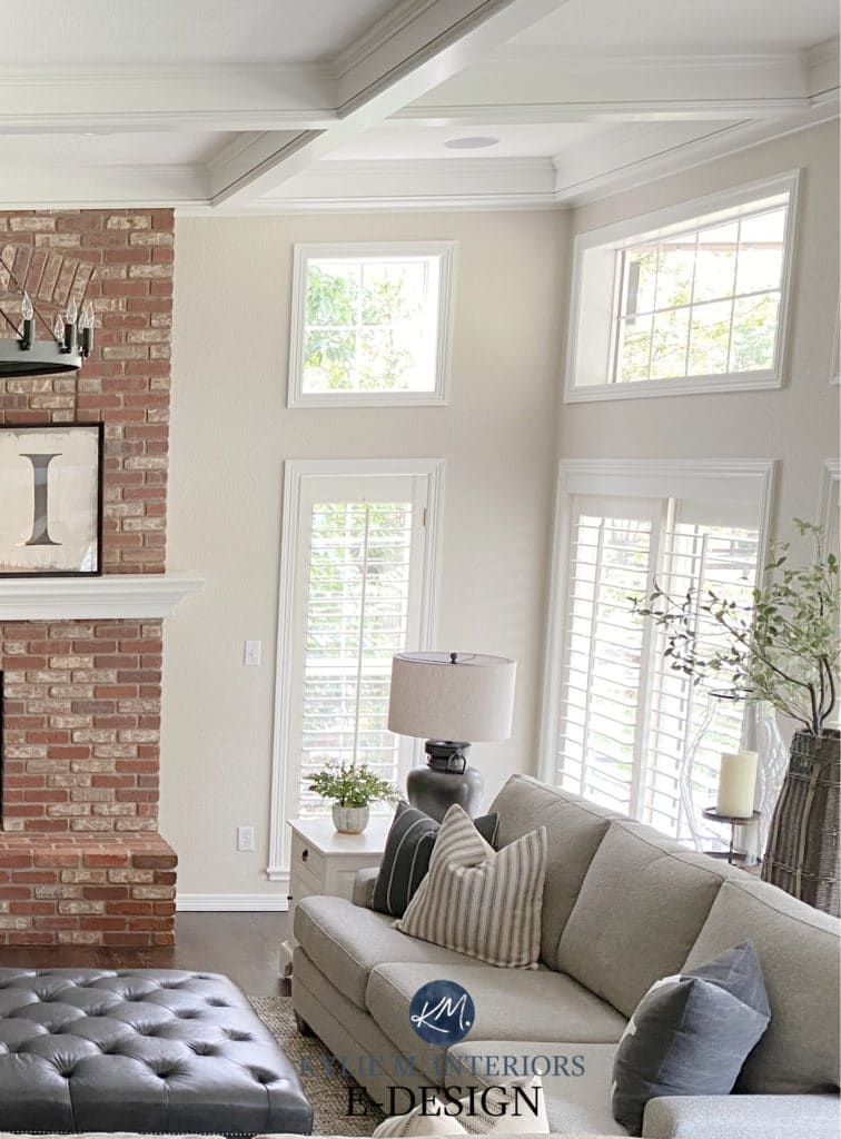 LIving or family room, Benjamin Moore Edgecomb Gray and pink red brick fireplace. Windows and White Dove trim. Home decor transitional style. Kylie M Interiors Edesign, diy update idea
