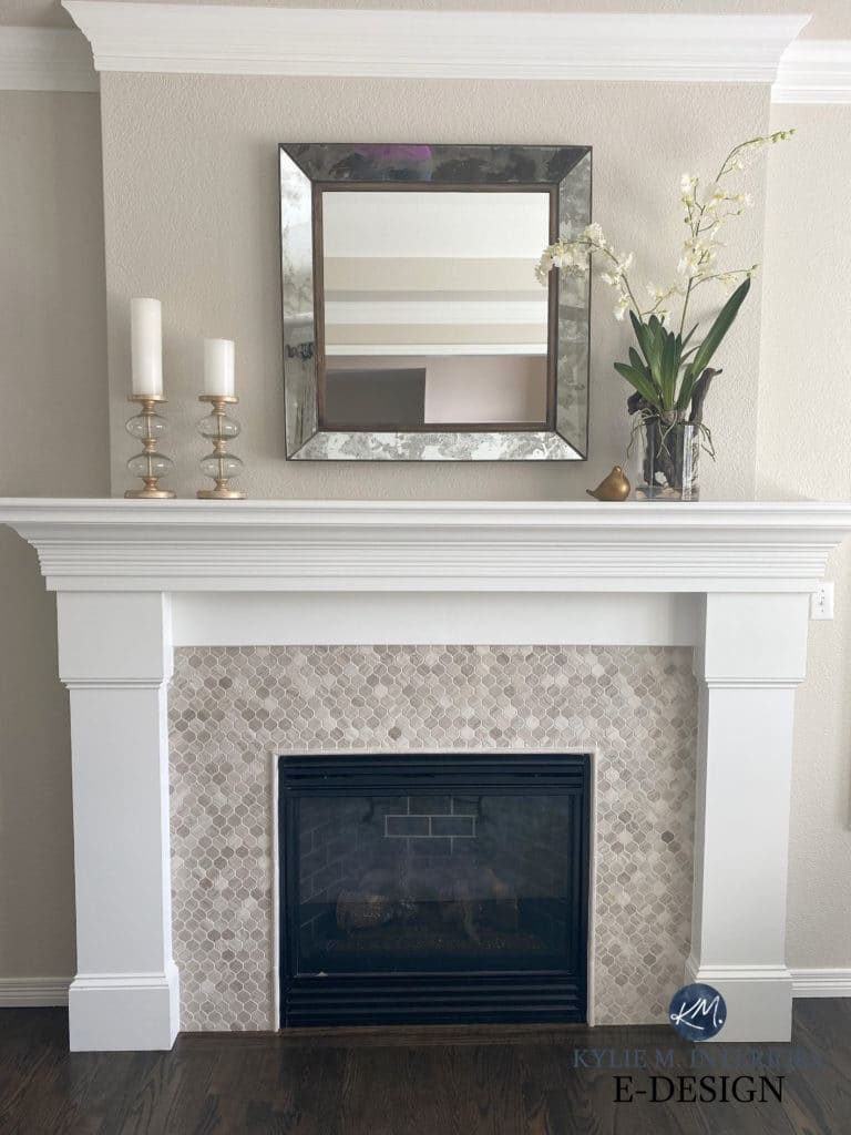 Living room fireplace, travertine tile suround, white painted mantel, Edgecomb Gray, White Dove, dark wood floor and home decor. Kylie M Interiors Edesign, DIY consultant