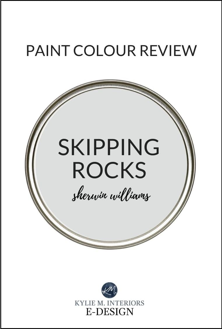 Paint color review, Sherwin Williams Skipping Rock, best gray paint colour similar to Gray Owl. Kylie M Interiors Edesign