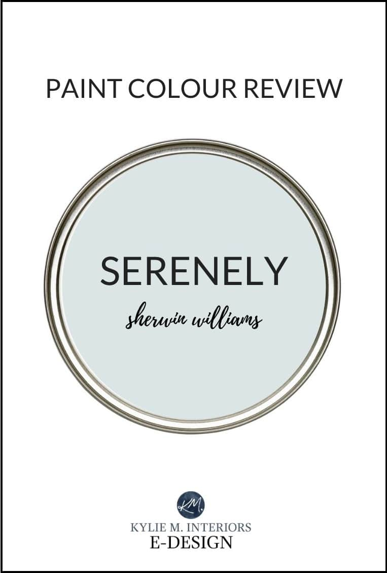 Paint colour review, best blue gray Sherwin Williams Serenely. Kylie M Interiors Edesign, Designer Edition Emerald line. Online paint colour consultant
