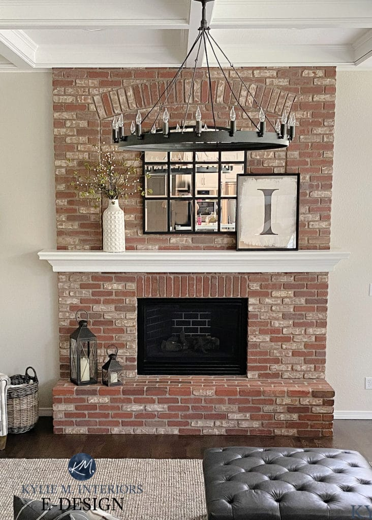 Pink or red brick fireplace, white mantel, chandelier, update ideas. Kylie M Interiors Edesign, diy blogger and online paint color consultant