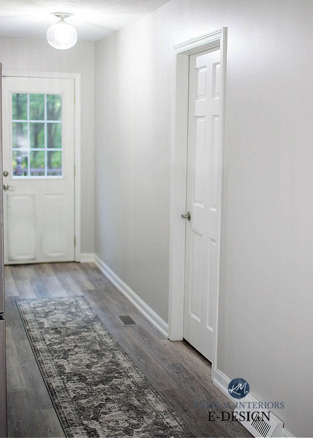 Repose Gray hallway with Pure White trim, Sherwin Williams, bright white light bulbs. Kylie M Interiors Edesign, diy blogger. Client photo