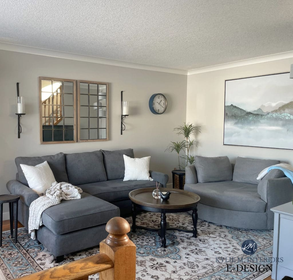 Rodeo, Benjamin Moores best warm gray paint color. Living room, gray furniture. Kylie M Interiors Edesign, diy decorating blogger