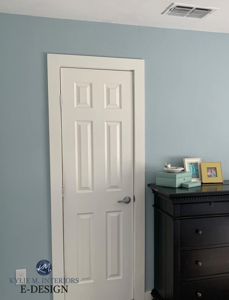 Sherwin Williams Niebla Azul with warm white trim. Beige carpet, Kylie M Interiors Edesign, diy design ideas and advice. Consulting blog
