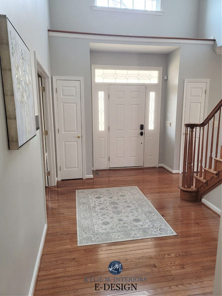 Sherwin Williams Repose Gray with warm orange oak flooring, railings. White trim. Kylie M Interiors Edesign, diy and online paint color consultant
