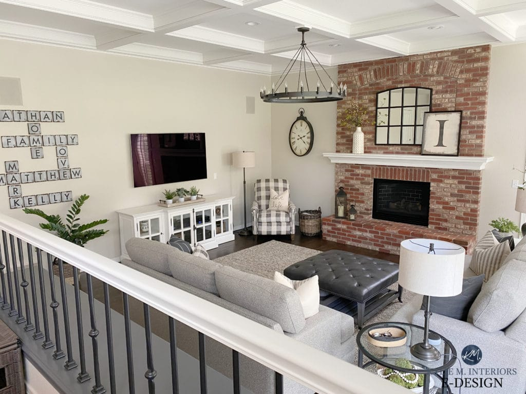 Split-level family room, brick fireplace, greige walls, coffered ceiling, transitional style furniture and home decor. Kylie M Interiors Edesign, White Dove and Edgecomb