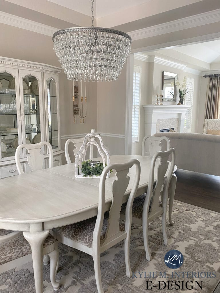 Traditional dining room, light white wash furniture. Benjamin Moore Edgecomb Gray, greige walls. Kylie M Interiors Edesign, diy blogger. Formal style