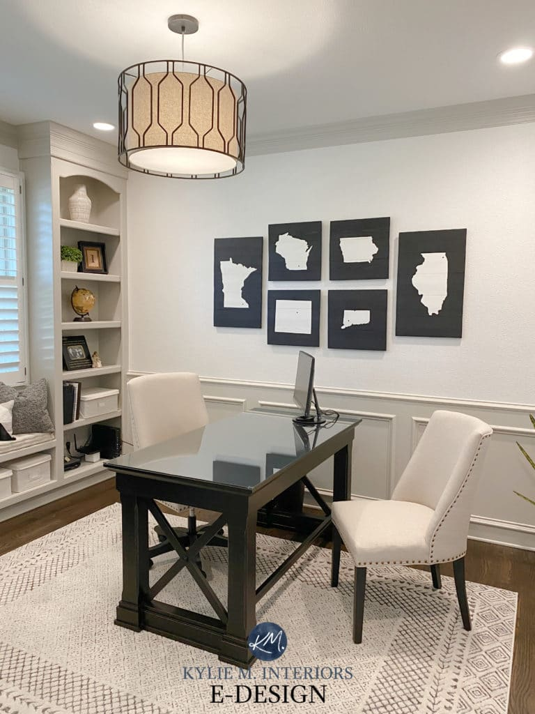 Wainscoting, panelling Benjamin Moore Revere Pewter, warm gray greige, White Dove walls, home office. Kylie M Interiors Edesign, diy update and consultant