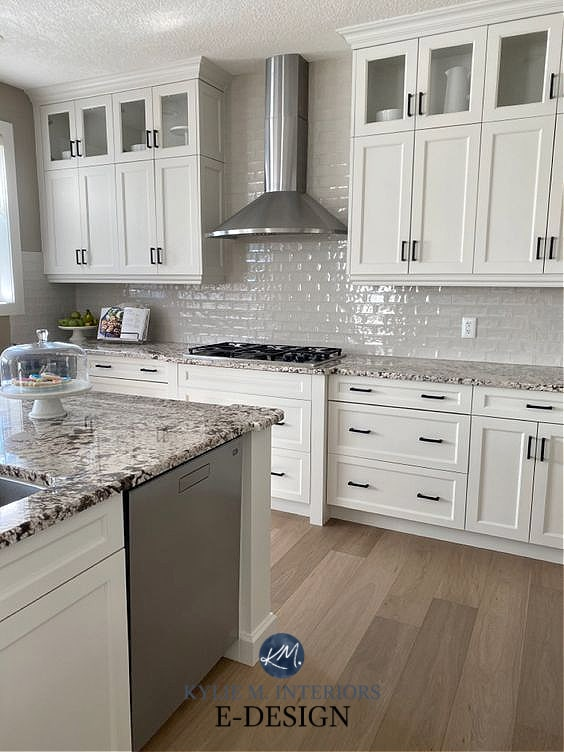Dark maple red cabinets painted warm neutral gray paint colour, Benjamin Moore Classic Gray. Granite countertop. Kylie M Interiors Edesign, diy blogger