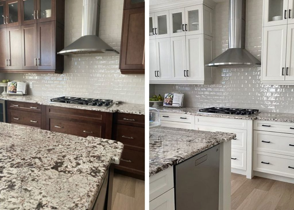 Kitchen, granite countertops, painted maple wood cabinets, Benjamin Moore Classic Gray, subway tile. Kylie M Interiors Online paint color consulting, diy