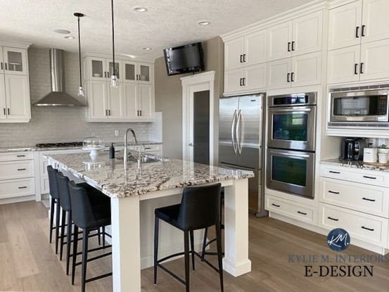 Kitchen wood maple cabinets painted Benjamin Moore Classic Gray. Warm grey, granite countertop and subway tile. Kylie M Interiors Edesign, diy online paint color consult blogger